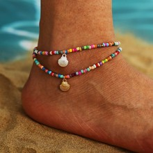 Богемные хрустальные оболочки лодыжки для женщин красочные фрукты бабочка браслет на ногу многослойный браслет на ногу пляжные геометриче...(Китай)