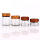 high quality childproof glass jar with bamboo wood lid