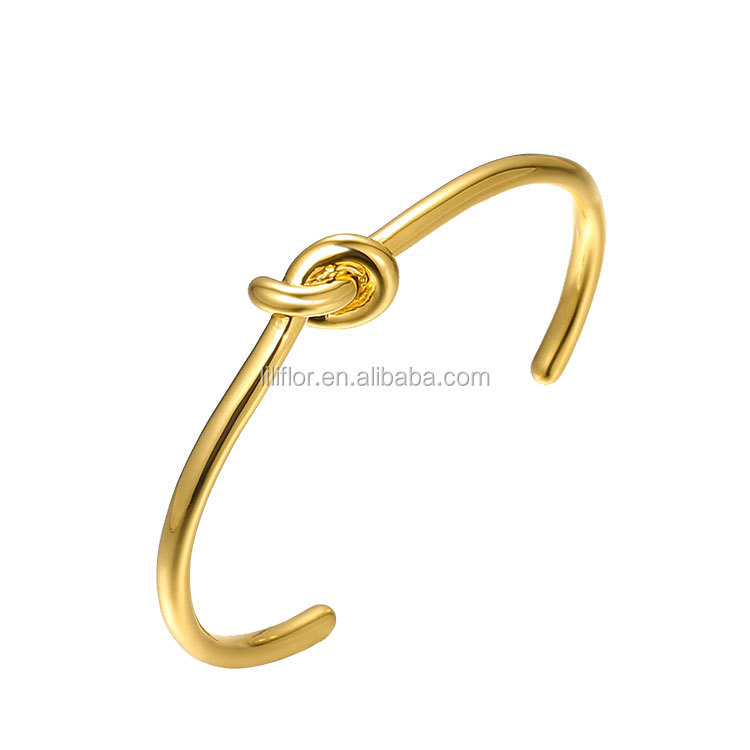 High Quality 18K Gold Plating Brass C-shaped Open Design Cuff Bracelet B4286
