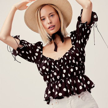 Hot Sale Fashion Women Sweet Dot Printing Black and White Blouse Top Lady Vintage Tunic Casual Shirts