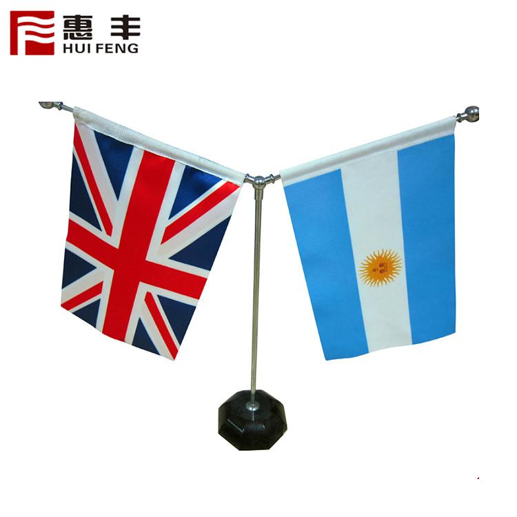 Пользовательские Дизайн печати все страны полиэстер ткань офис металлический стол флаг стенд