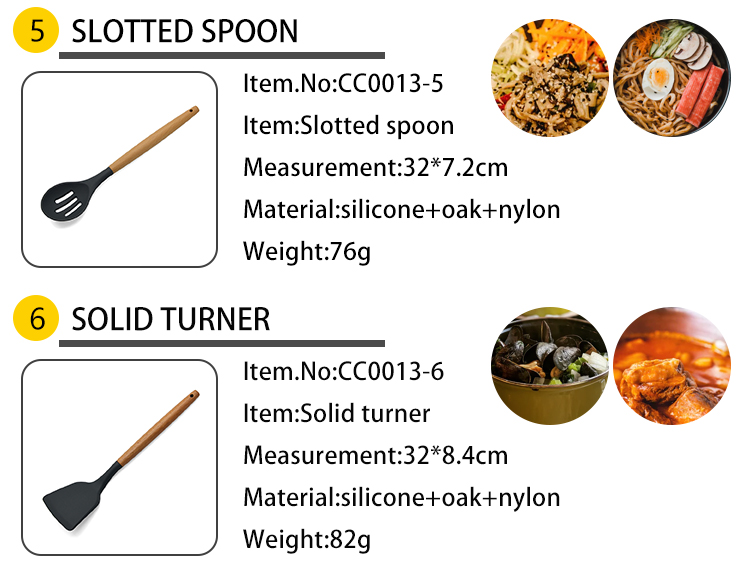 bamboo handle wood handle oak handle kitchenware set accessories tools silicone nylon kitchen cooking utensil set