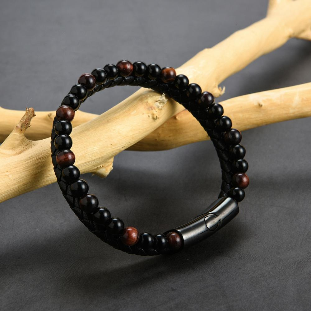 2019 New Design Natural <strong>Red</strong> <strong>Tiger</strong> <strong>Eye</strong> Leather <strong>Bracelet</strong> For Men Jewelry