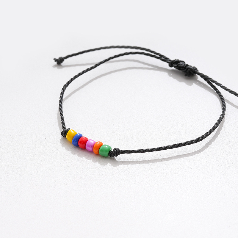 Custom new card bracelet fashion colored rice beads bracelets wax cord woven adjustable bracelets