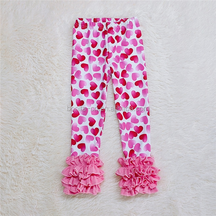 Wholesale Adorable Girls Clothing Valentine Style Kids Ruffle Icing Legging Baby Clothes Pants