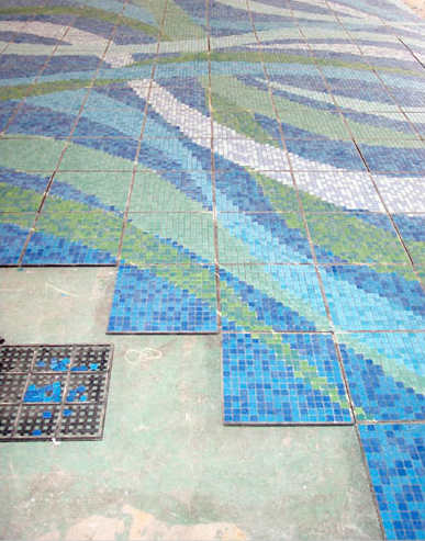 Hot sale blue wave pattern glass tile for swimming pool mosaic