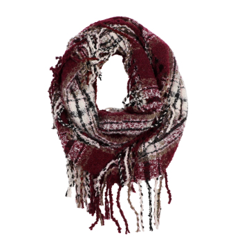 Wholesale Classic fashion Winter tassel scarf plaid Infinity Scarf for women