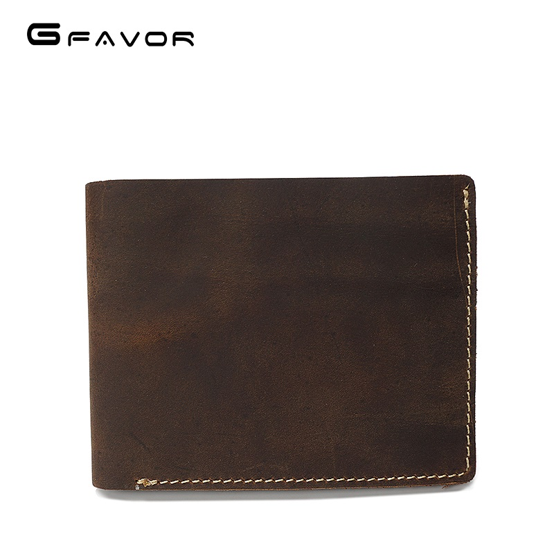Custom Brown Full Grain Short Handmade Genuine Leather Promotion Gifts Wallet Men Crazy Horse Leather Bifold Wallet for men