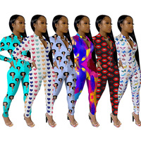 2020 New Arrival Womens Printed Long Pants Sexy Jumpsuit