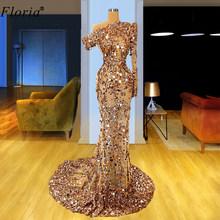 Роскошное блестящее платье цвета шампань для выпускного вечера 2020, арабские вечерние платья с блестками и иллюзией, Длинные вечерние плать...(Китай)