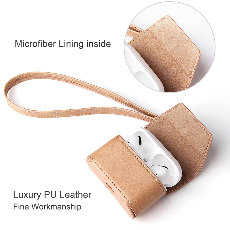 Magnetic Earphone Bag For Airpods PRO Case Hot Selling Hand Carrying Airpods PRO Leather Case Anti-Lost Leather Airpods Cover