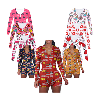 Wholesale Custom New Printing Plus Size Adult Sexy Onesie Women Pajamas For Women