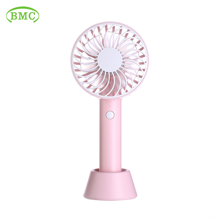 Desk supporter portable pink plastic mini air cooling fan
