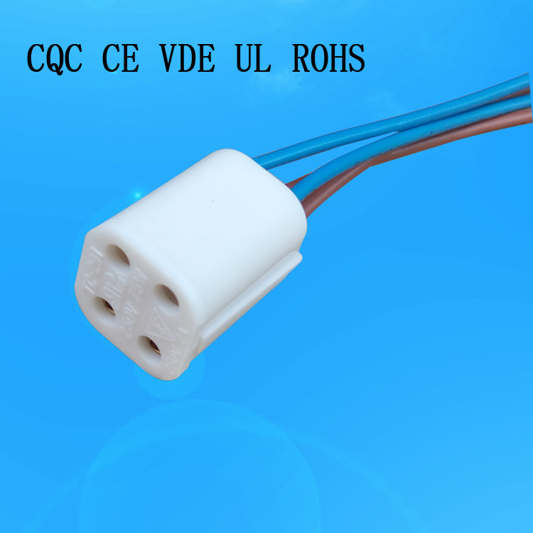 OEM 4pins uv lamp socket  high quality G10Q with wire UV lamp holder with certification for various countries