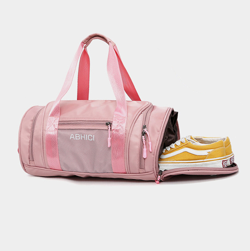 With Shoes Space Custom Waterproof Pink Color Lady Round Shaped Gym Sports Duffle Bag