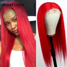 Зеленый парик человеческих волос 13x4 оранжевый прямой желтый блонд Синтетические волосы на кружеве парик розового цвета с красной подсветк...(Китай)