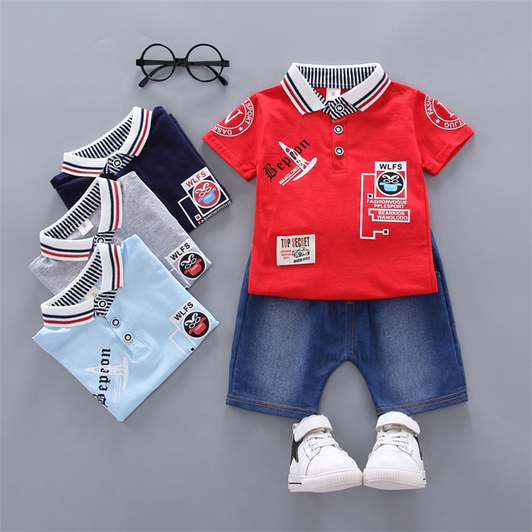 China Kids Manufacturer Wholesale Promotional Letter T Shirt Pants Cotton Boys Clothing Sets