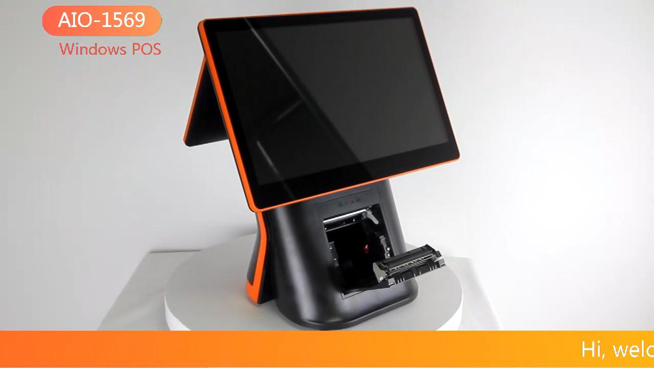 """Black/White 15.6 """"+ 11.6"""" Dual Screen Android Sistema POS com Impressora e Scanner"""