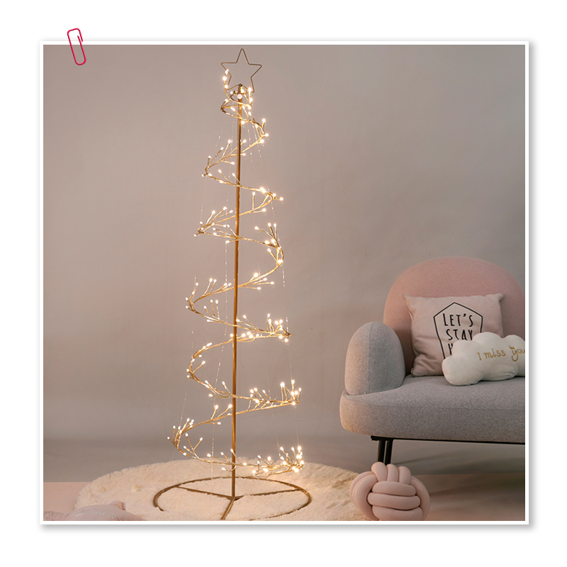80cm 160cm 190cm Led Decoration Metal Led Spiral Circle Warm White Tree Light Outdoor Waterfall Christmas Lights