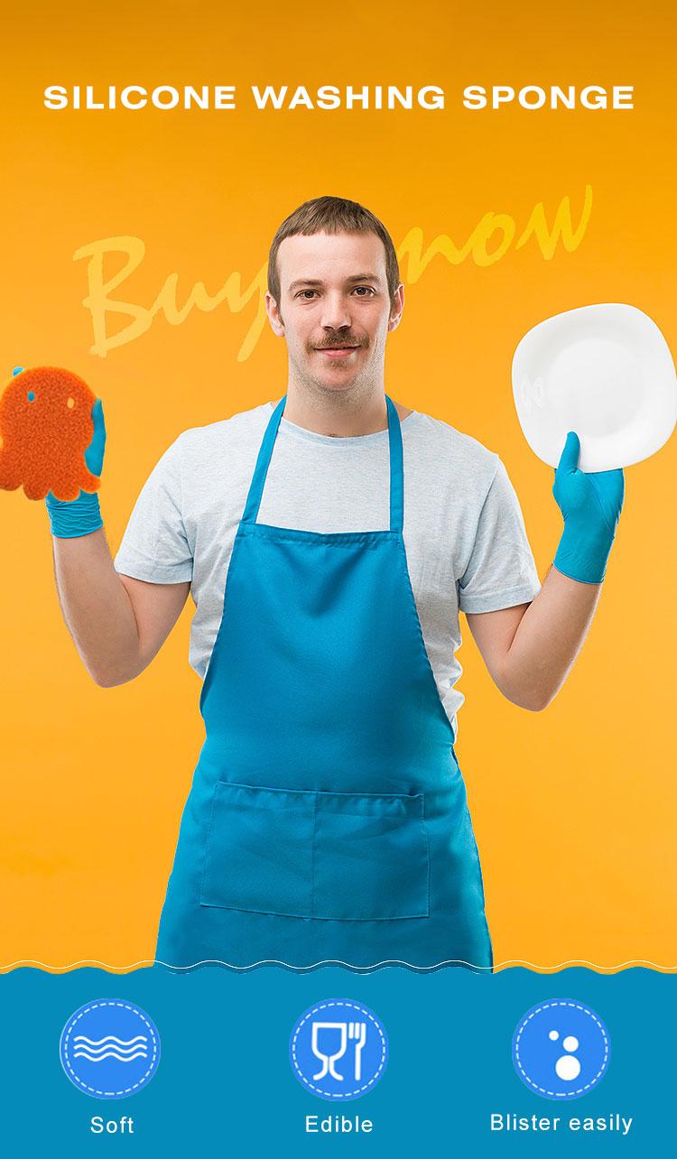 إسفنج الغسيل عالي الكثافة لتنظيف المطبخ إسفنج تنظيف السيليكون المتين