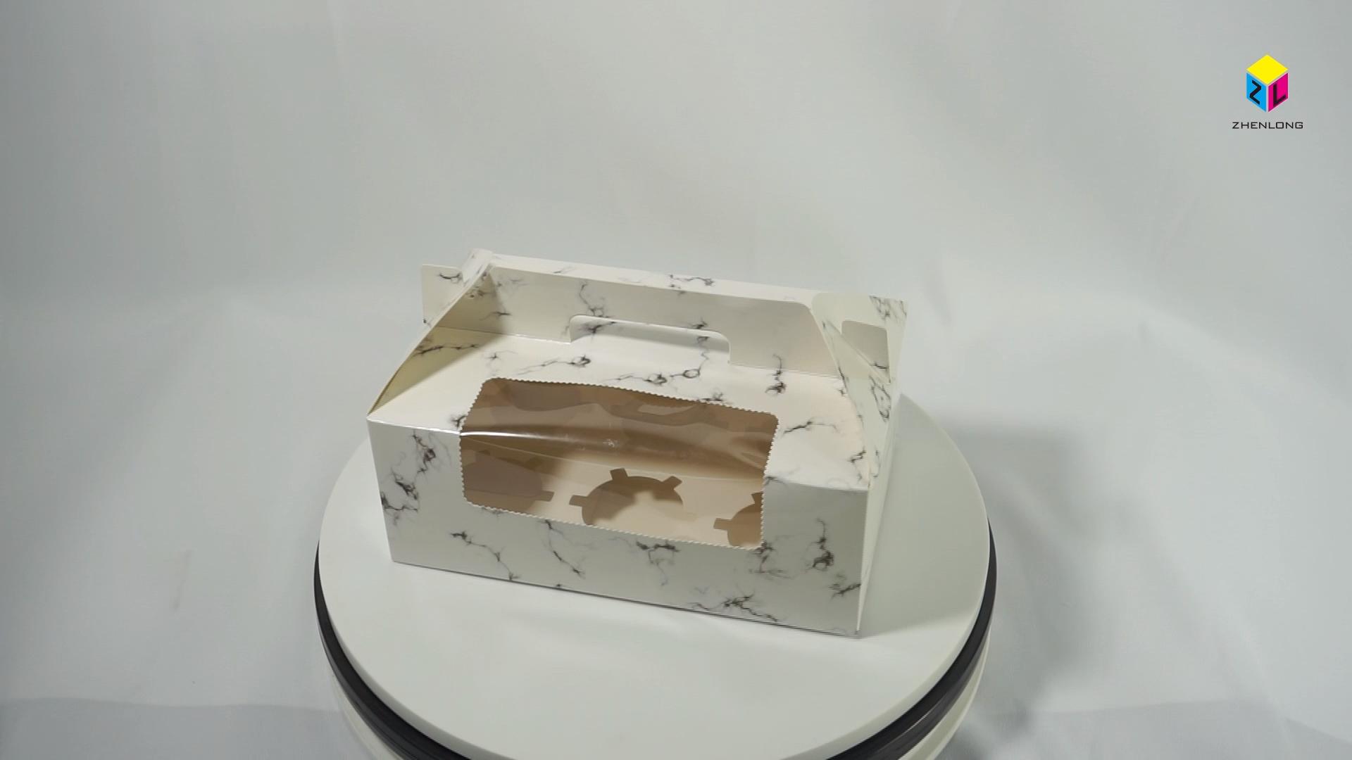 Pişirme ambalaj kek kağıt pencere kutusu toplu ambalaj içinde düğün tatlı kek hediye kutusu saplı