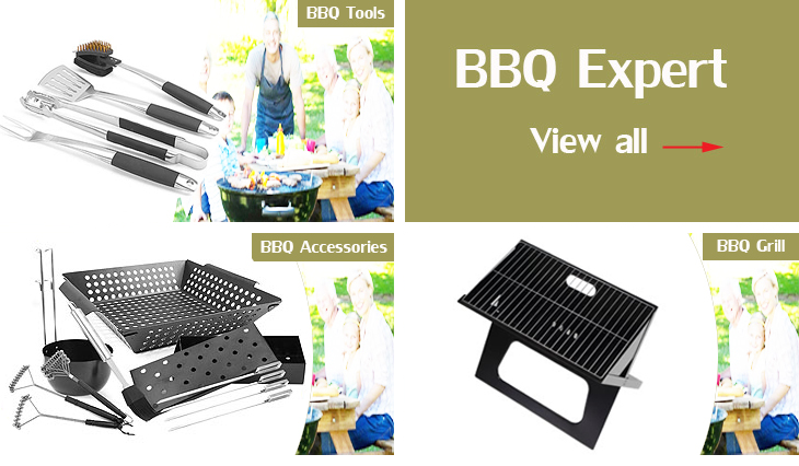 BNX0761 Wood Grain Coating Handle StainlessSteel  BBQ Grill tools set