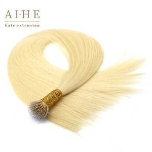 Wholesale double drawn russian blonde keratin remi human micro nano ring hair extensions