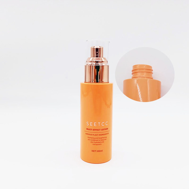 Luxury cosmetic 100ml pet lotion bottle with gold lotion pump