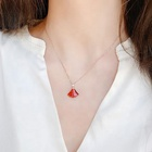 Customized Charm Fan Shaped Red Jade Chain Necklace with Pendant for Girls Ladies and Women