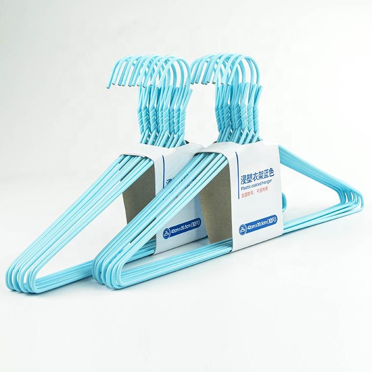 Hometime fabrika mavi metal tel askı çamaşır kuru temizleyiciler elbise askısı