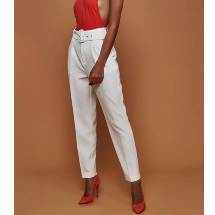 Celana Kasual Wanita Pinggang Tinggi Musim Gugur, Celana Setelan Wanita Celana Kantor Longgar Kaki Lurus