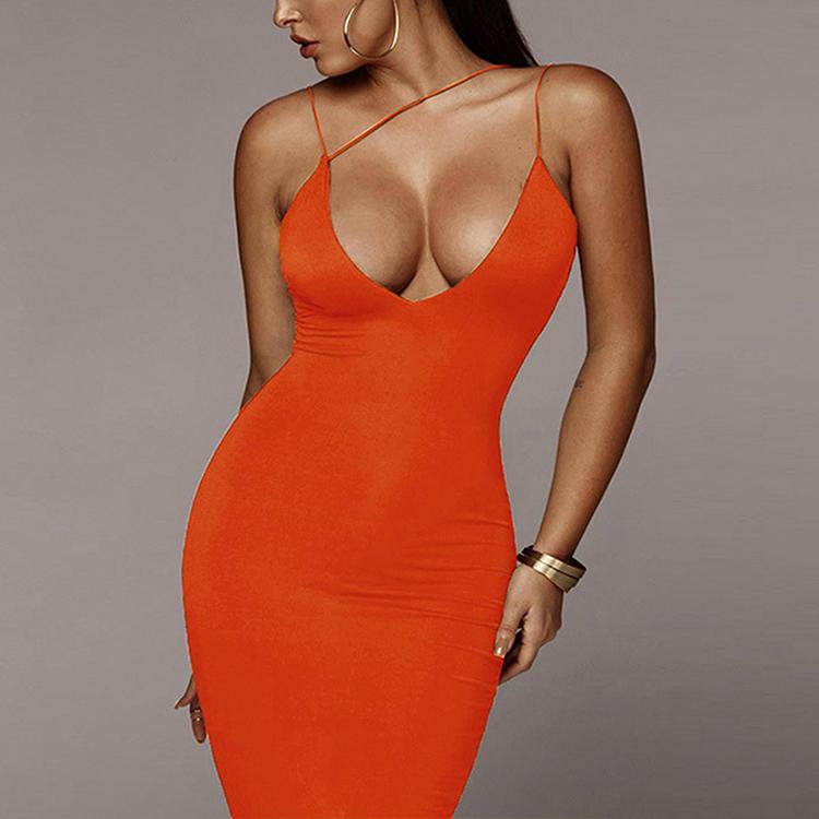 Attractive Deep V Neck Backless Bodycon Dress Maxi Dresses Sexy Women