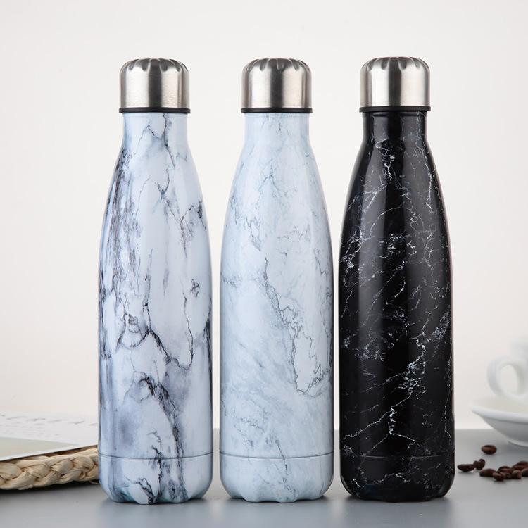 Botella de agua de mármol de acero inoxidable termal sellado botella de vacío aislada