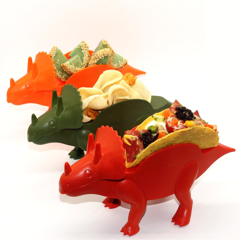 CHRT Food Grade <strong>Plastic</strong> Triceratops Taco Holder <strong>Plate</strong> Stand Wholesale Dinoaur Taco Holder for <strong>Kids</strong>
