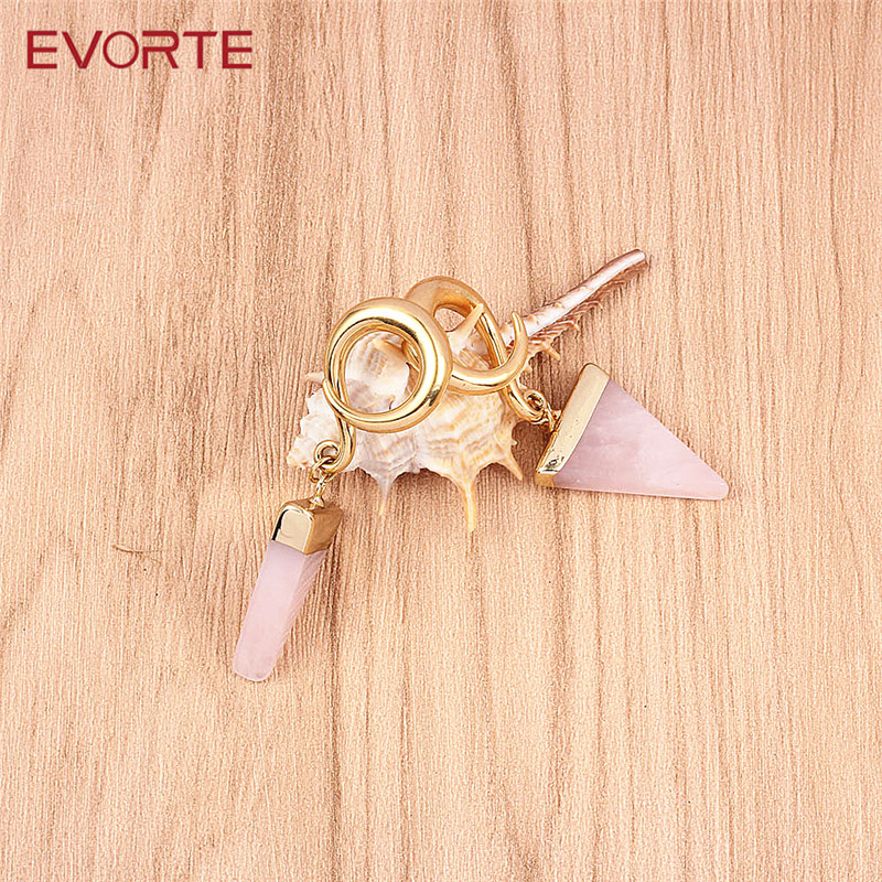 Evorte Body Jewelry Ear Natural Stone Weights Hangers Gauges Plugs Stainless Steel Hooks for Piercings