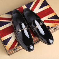 37-48 Big Size Black Mirror Horsebit Loafer Pointed Toe Business Loafer Shoe Wedding Dress Shoe