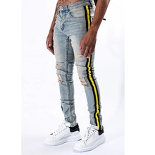 DiZNEW männer Hohe Stretch Striped Ripped Blau Dünne Seite <span class=keywords><strong>Jeans</strong></span>