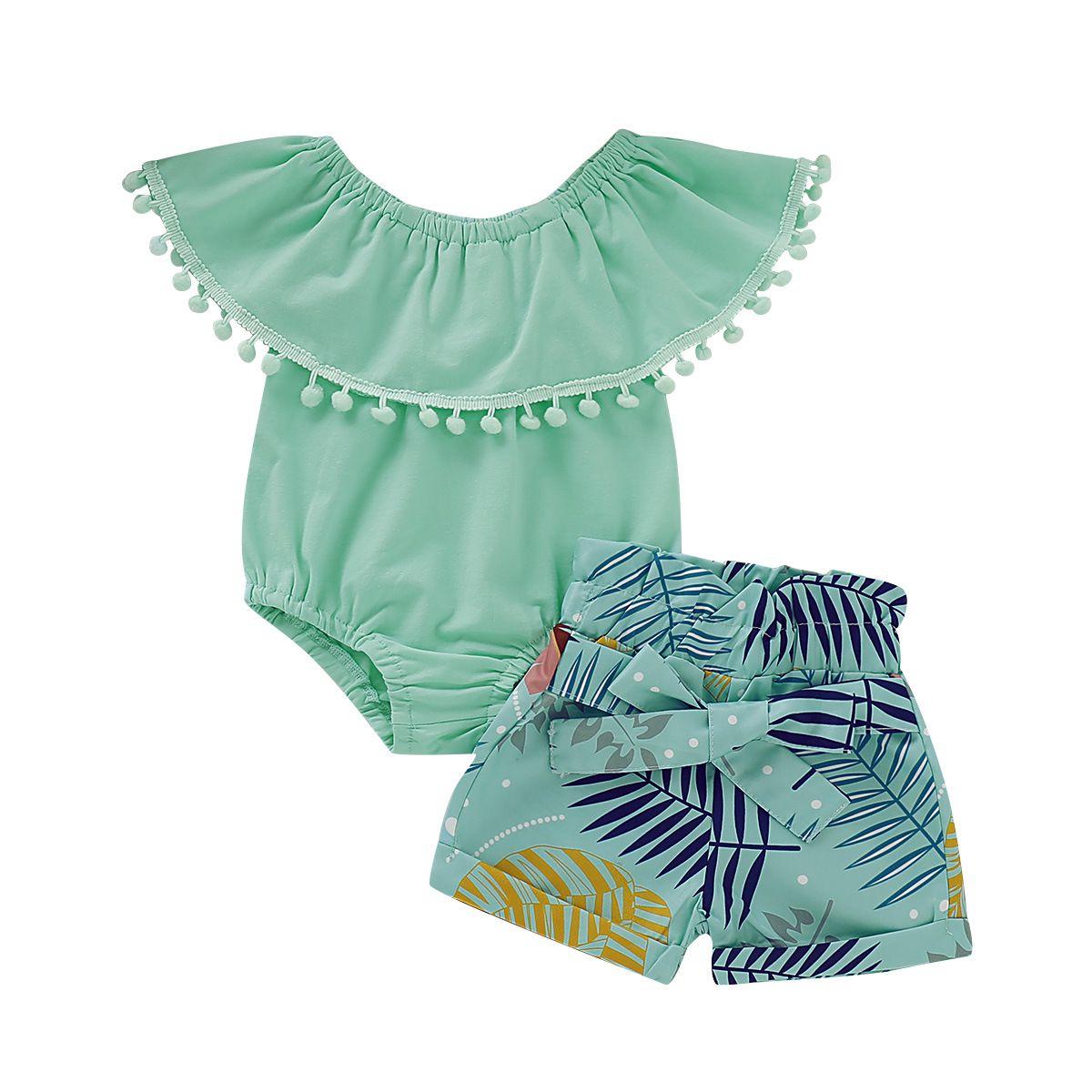 TZ-1688-008フラッターポンポンフリルボディスーツ & ボウショートセット女の赤ちゃん服セット新生児