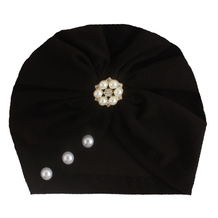 Best selling babies turban soft cotton hats pearls flower chapeau lovely