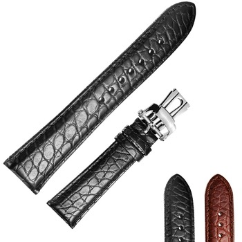 Reef Tiger 22 mm Watch Band Alligator Strap for Men Brown Black Genuine Leather Watch Strap