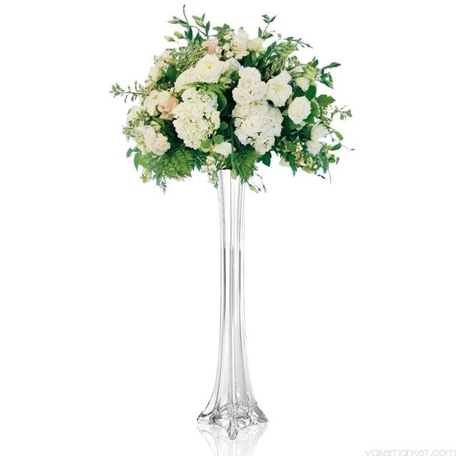 """แจกันแก้วใสสูง24 """"สำหรับตกแต่งงานแต่งงานแจกันดอกไม้ขนนกกระจอกเทศ"""