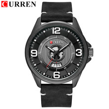 Мужские часы CURREN, аналоговые, армейские, кварцевые, водонепроницаемые, с кожаным ремешком(Китай)