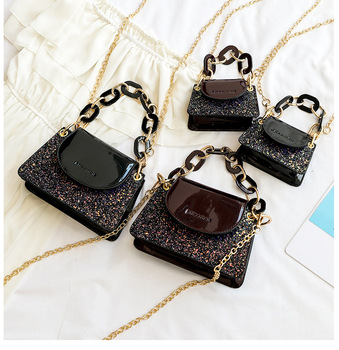 2019 New Fall Winter Women Fashion Styles Shiny Glitter Pu Leather Mini Handbags Girls Small Messager Bag With Chain Links