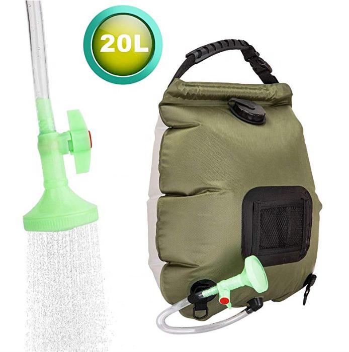 सौर स्नान बैग शिविर बौछार 5 गैलन/20L सौर हीटिंग बैग के साथ हटाने योग्य नली और पर-बंद TPU switchable सिर बौछार