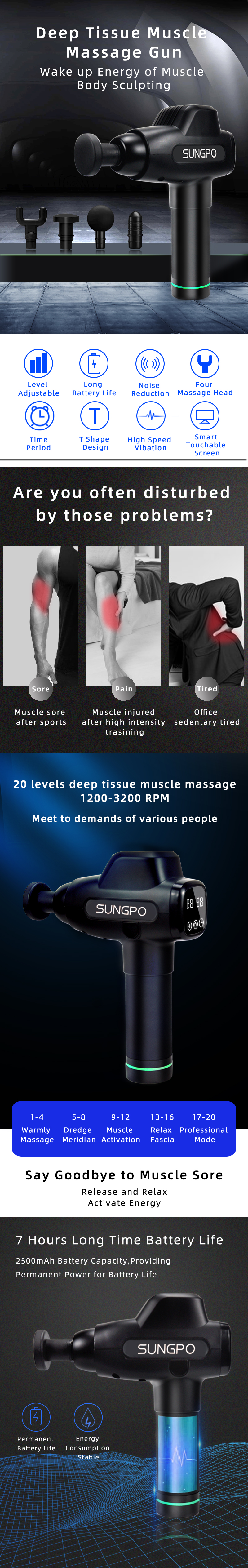 Massage Gun with  LCD Percussion Muscle Therapy Deep Tissue Massager and Multifunctional  Muscle Massager equipment
