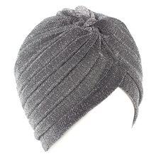 Женская Блестящая шапка-тюрбан с завитым узлом, теплая Повседневная Уличная одежда для мусульманских и индийских женщин на осень и зиму(Китай)