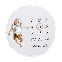 Hot sale customized kids soft thick flannel round rug double sided photography props months baby milestone blanket