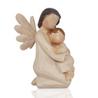 custom wooden resin child in mother arm figurine