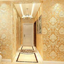 Европейские 3d Роскошные золотые нетканые обои для гостиной, спальни, отеля, магазина одежды, обои высокого класса, золотые настенные бумажн...(Китай)