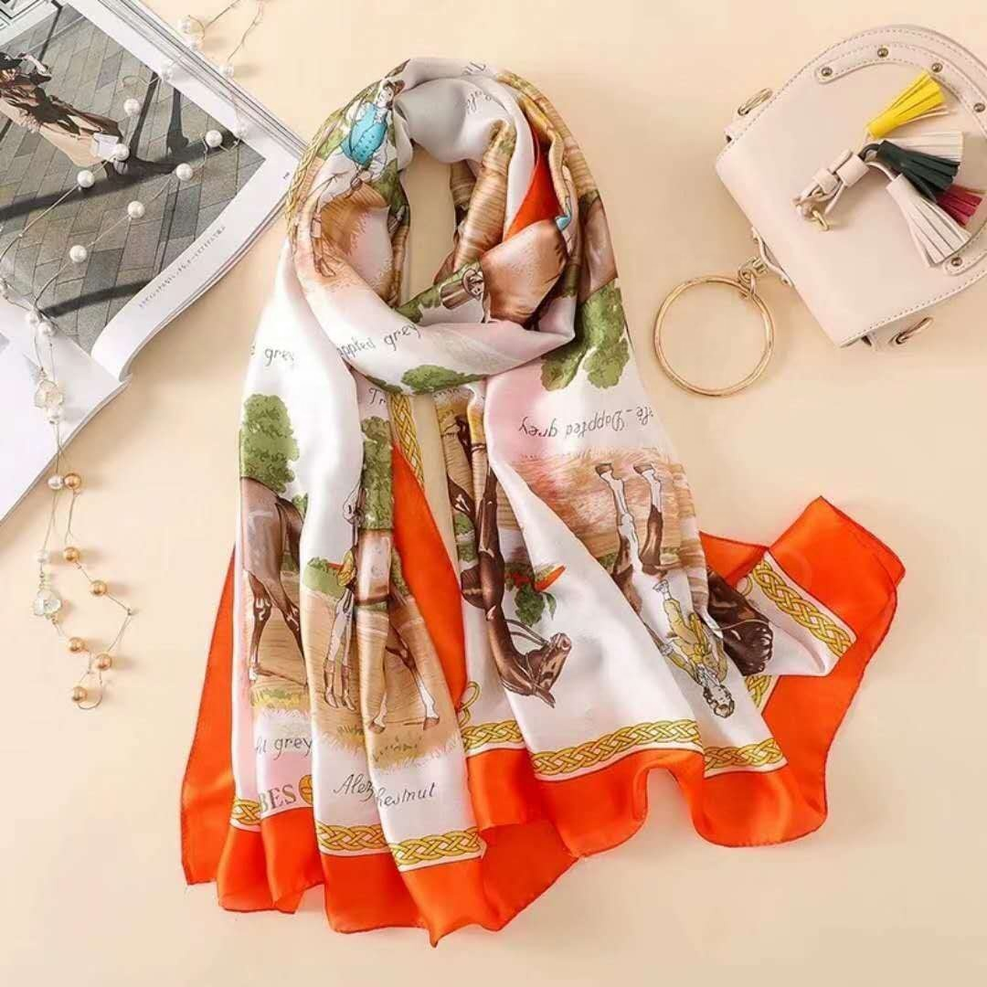 Hot Sale Fashion Custom Printed Long Korean 100 Silk Protective Neck Face Scarf For Women